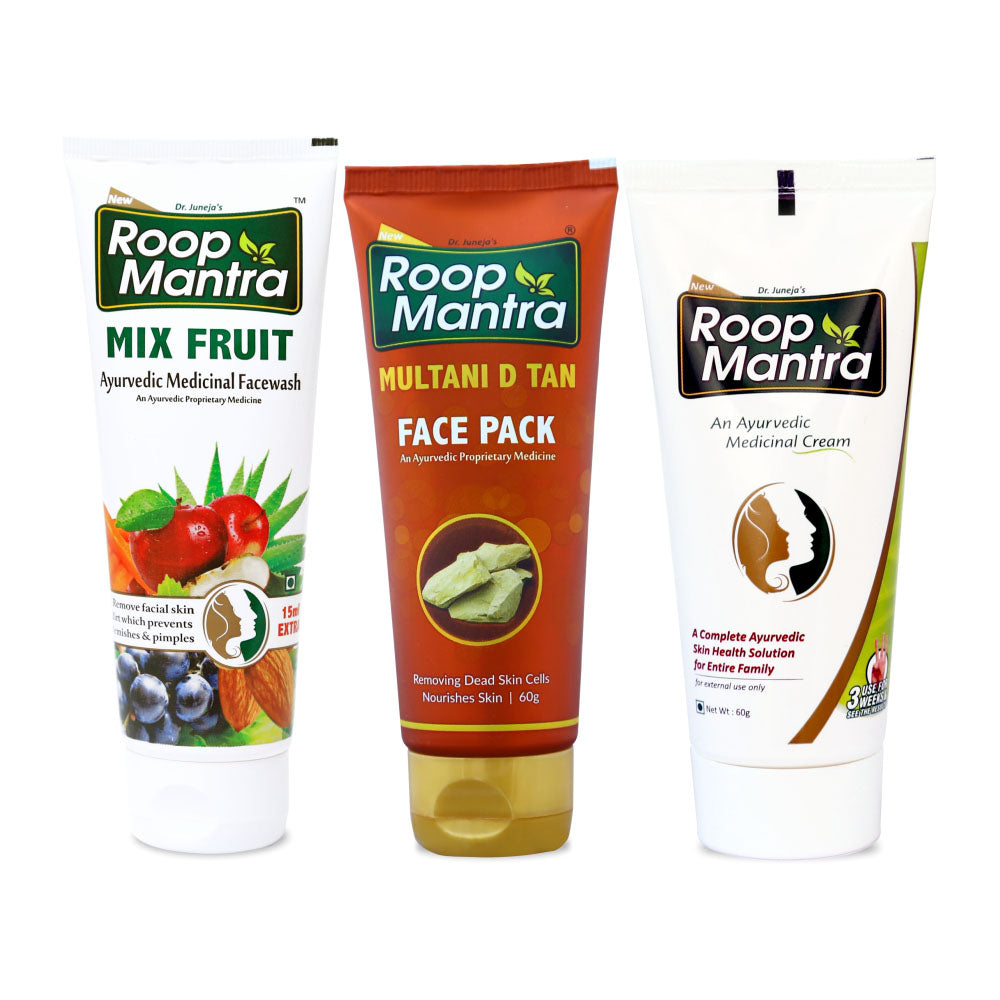 Roop Mantra Skin Brightening Combo ( MixFruit Face Wash 115ml, Multani D Tan Face Pack 60g, Face Cream 60g)