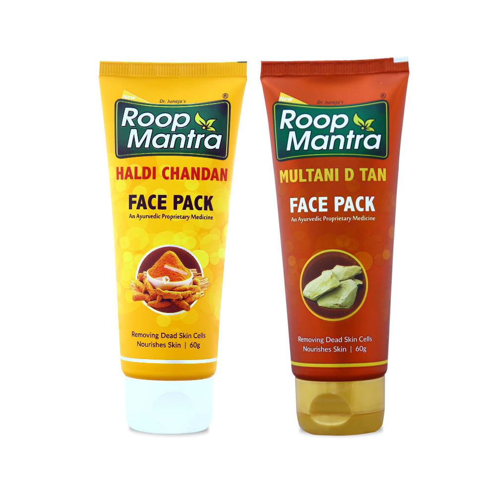 Roop Mantra Face Pack Combo (Haldi Chandan Face Pack 60g, Multani D Tan Face Pack 60g)