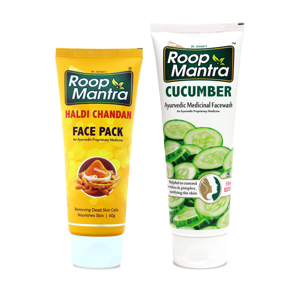 Roop Mantra Face Care Combo For Skin Softening & Moisturization (Haldi Chandan Face Pack 60g, Cucumber 115ml)