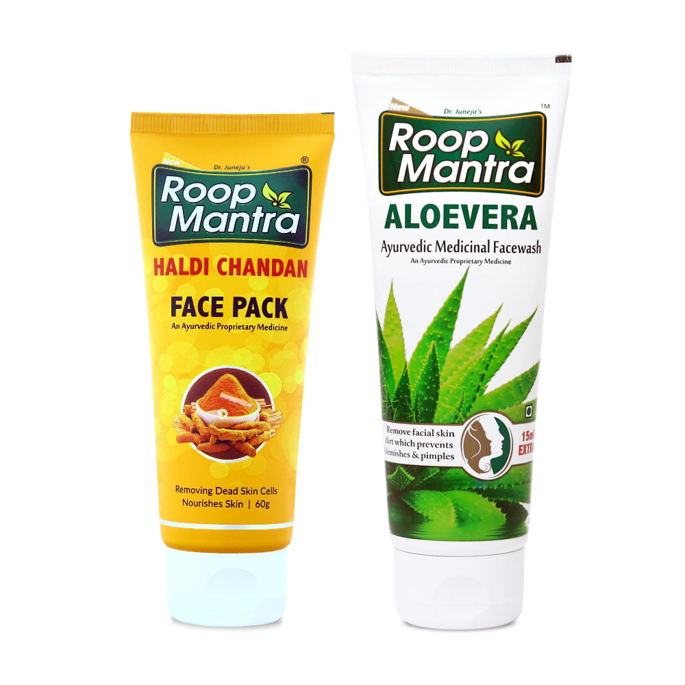Roop Mantra Face Care Combo For Premature Aging (Haldi Chandan Face Pack 60g, AloeVera 115ml)