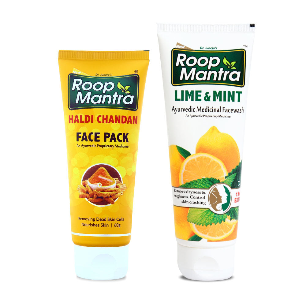 Roop Mantra Face Care Combo For Uneven Skin Tone (Haldi Chandan Face Pack 60g, Lime & Mint 115ml)