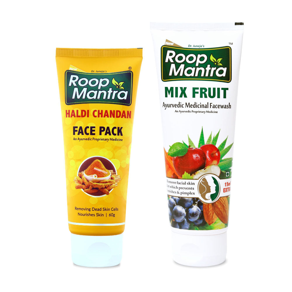 Roop Mantra Face Care Combo (Haldi Chandan Face Pack 60g, Mix Fruit 115ml)