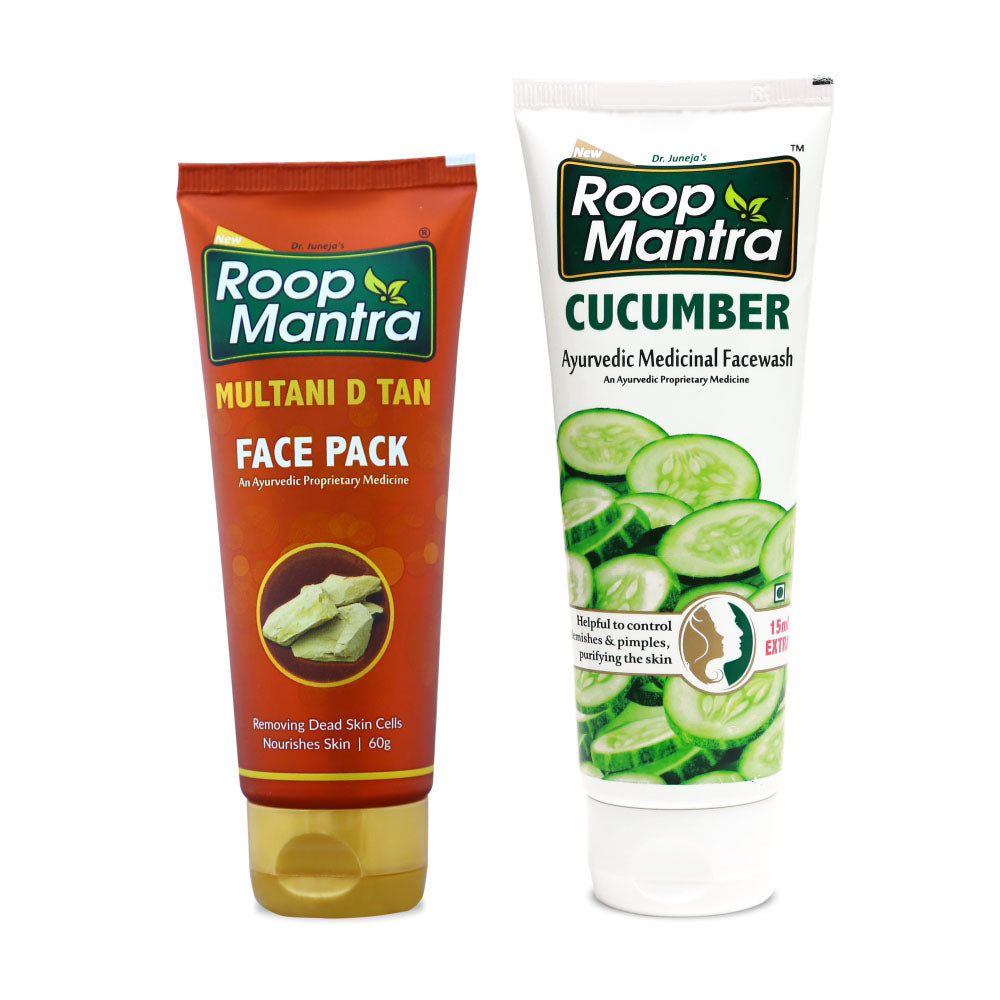 Roop Mantra Face Care Combo For Dull & Dry Skin (Multani D Tan Face Pack 60g, Cucumber 115ml)