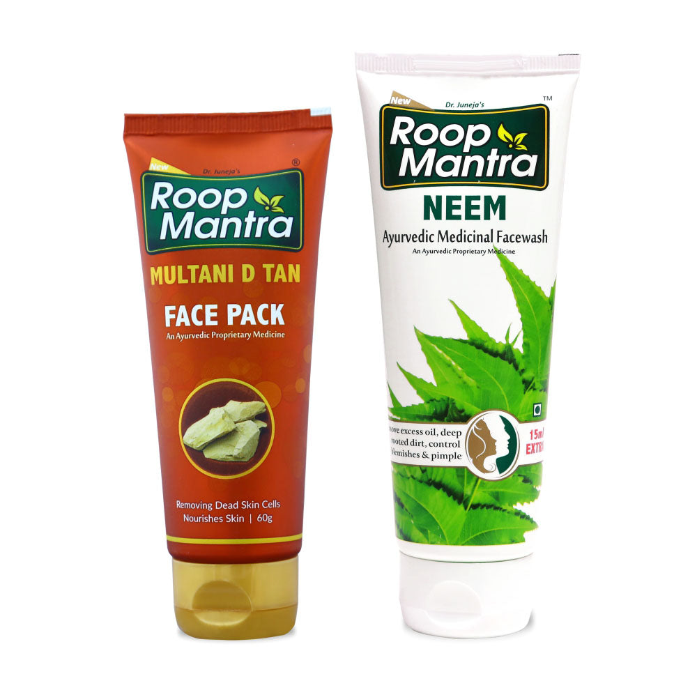 Roop Mantra Face Care Combo for Oily Skin (Multani D Tan Face Pack 60g, Neem Face Wash 115ml)