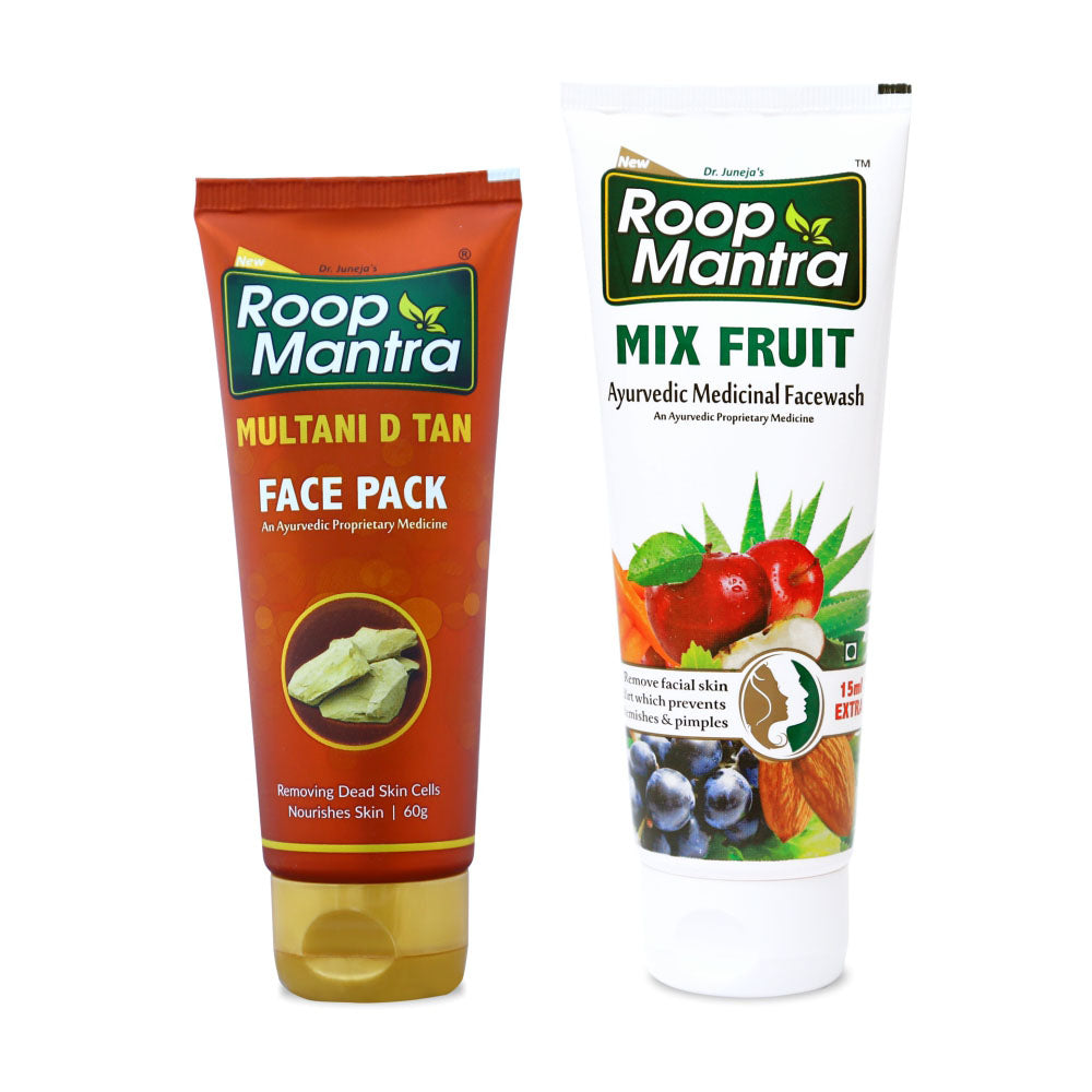 Roop Mantra Face Care Combo For Skin Brightening & Tightening (Multani D Tan Face Pack 60g, Mix Fruit 115ml)