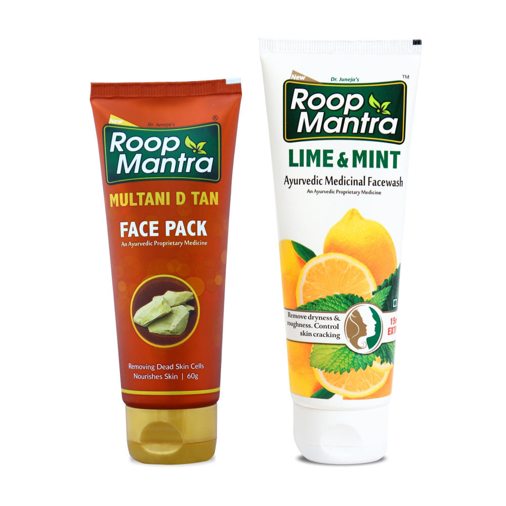Roop Mantra Face Care Combo For Sun Tanned Skin (Multani D Tan Face Pack 60g, Lime & Mint 115ml)