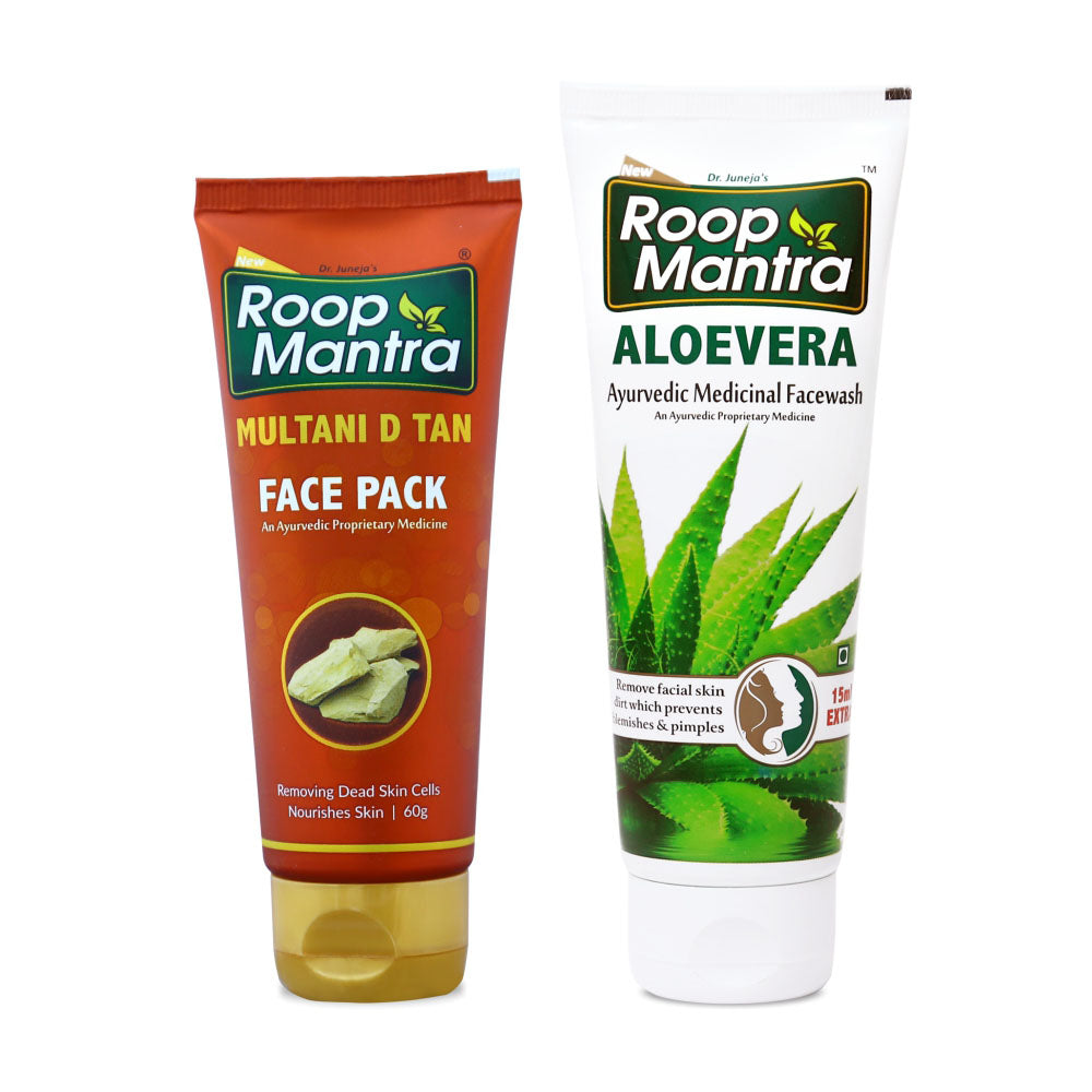 Roop Mantra Face Care Combo For Deep Cleansing & Blemishes (Multani D Tan Face Pack 60g, AloeVera Face Wash 115ml)