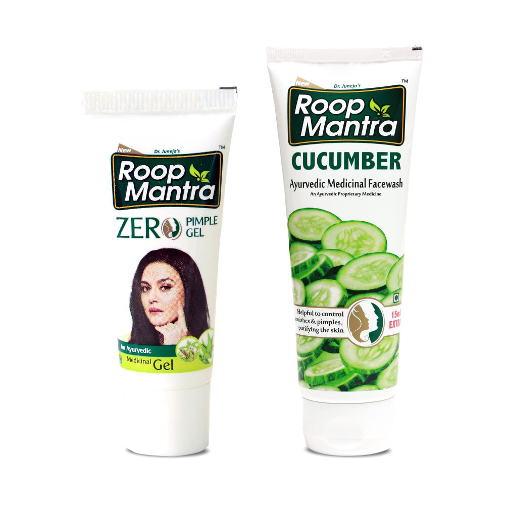 Roop Mantra Face Care Combo (Zero Pimple Gel 15g, Cucumber Face Wash 115ml)