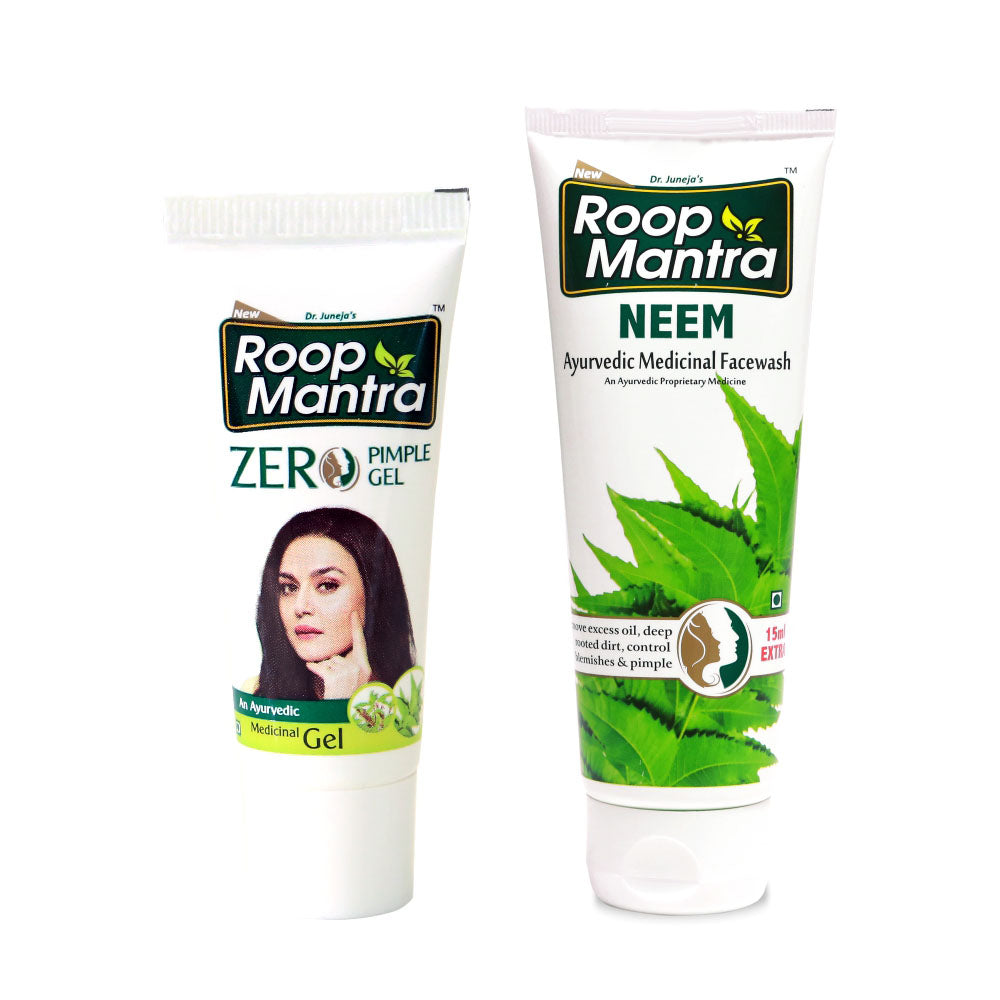 Roop Mantra Face Care Combo (Zero Pimple Gel 15g, Neem Face Wash 115ml)
