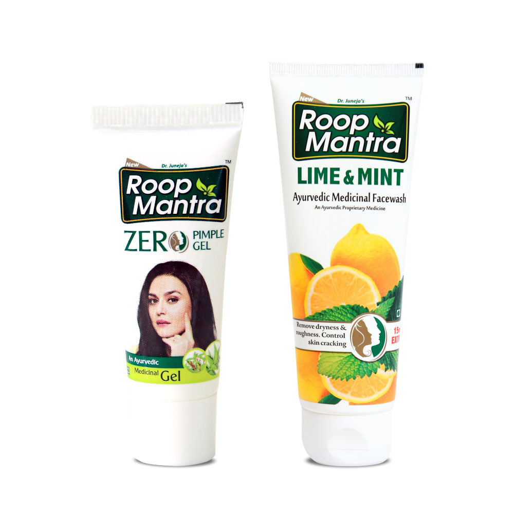 Roop Mantra Face Care Combo (Zero Pimple Gel 15g, Lime & Mint Face Wash 115ml)