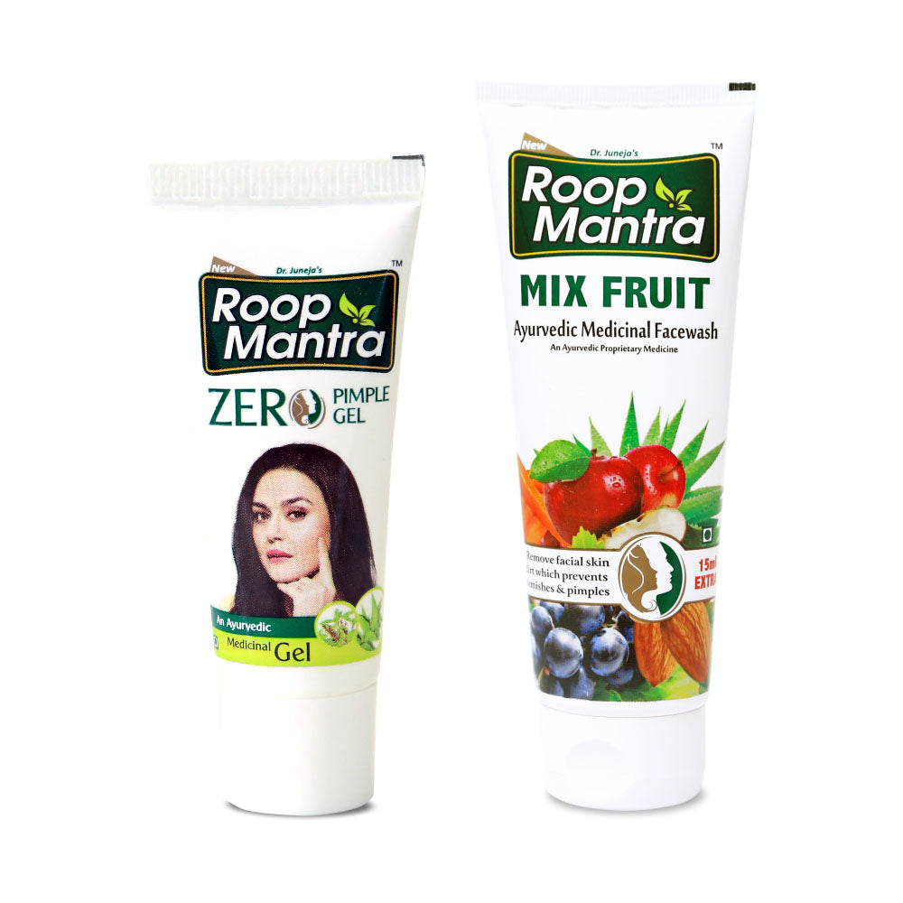 Roop Mantra Face Care Combo (Zero Pimple Gel 15g, Mix Fruit Face Wash 115ml)