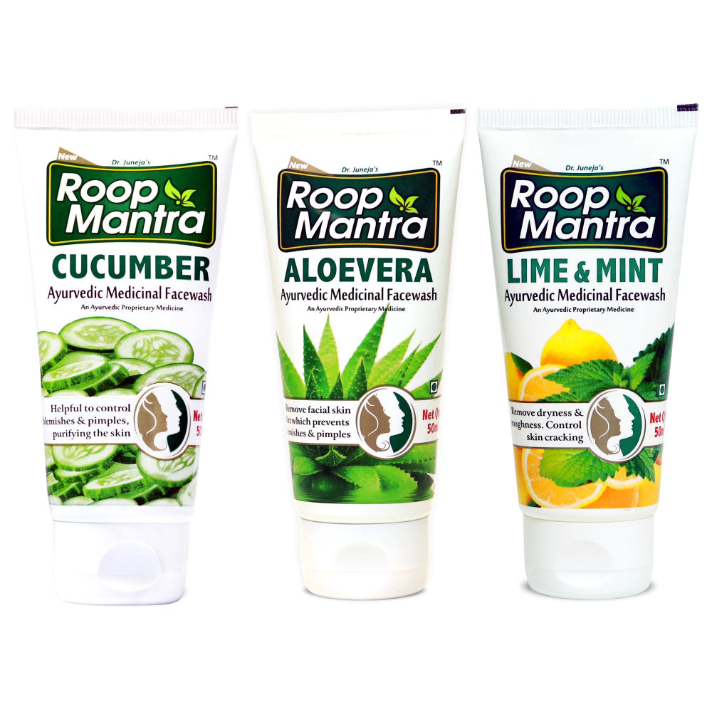 Roop Mantra Face Wash Combo (Cucumber 50ml, AloeVera 50ml, Lime & Mint 50ml)
