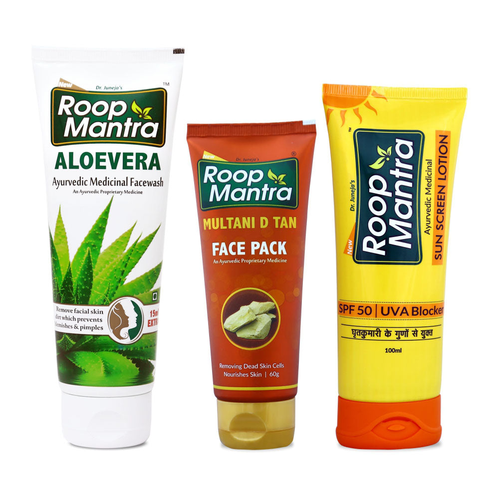 Roop Mantra Anti Tan Combo (Aloe Vera Face Wash 115ml, Multani D Tan Face Pack 60g, SunScreen Lotion 60g)