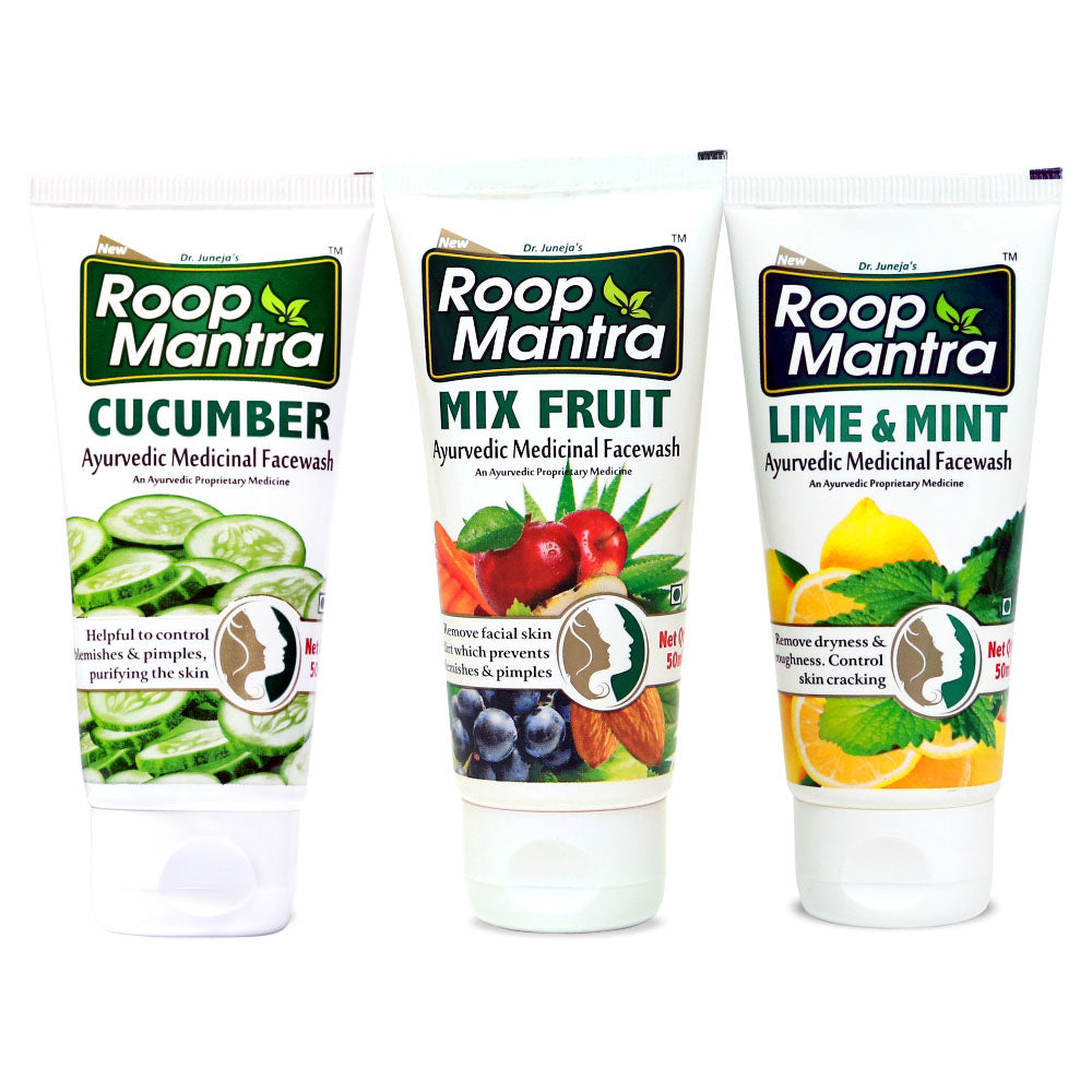 Roop Mantra Face Wash Combo (Cucumber 50ml, Mix Fruit 50ml, Lime & Mint 50ml)