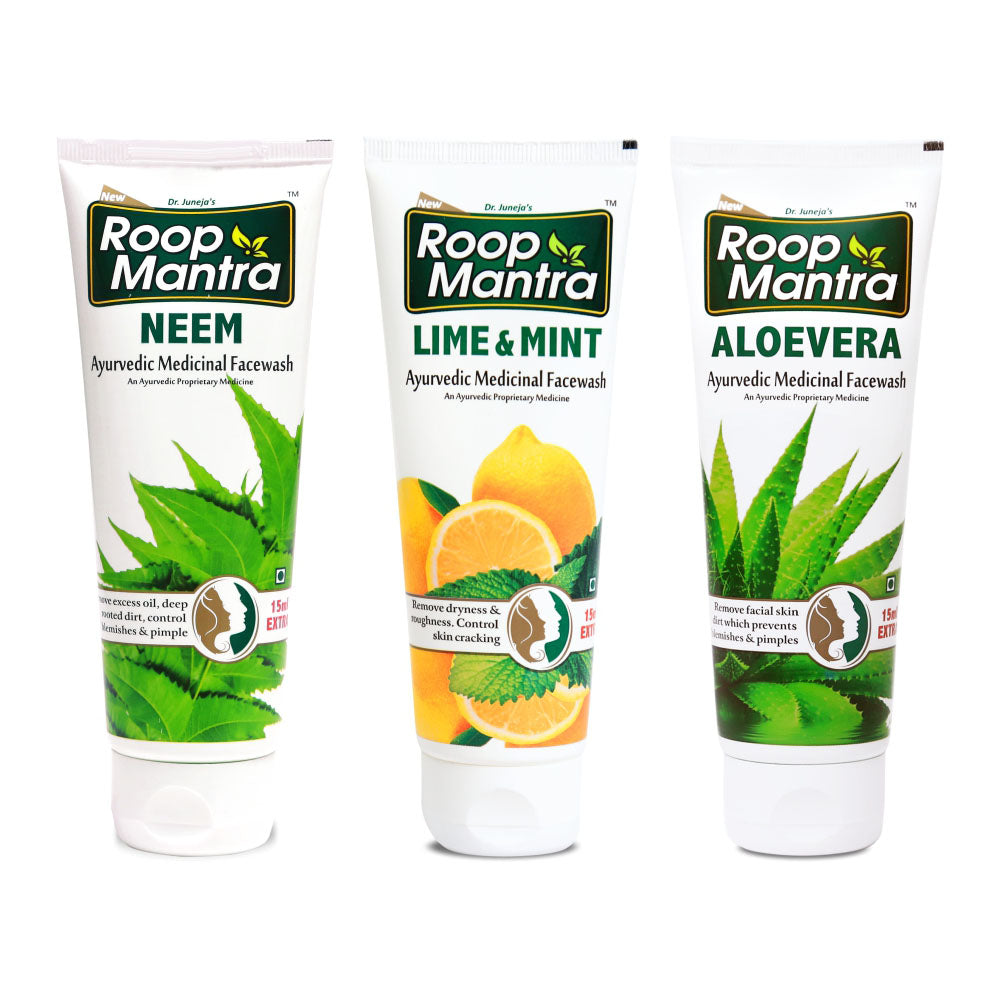 Roop Mantra Face Wash Combo (Neem 115ml, Lime & Mint 115ml, AloeVera 115ml)