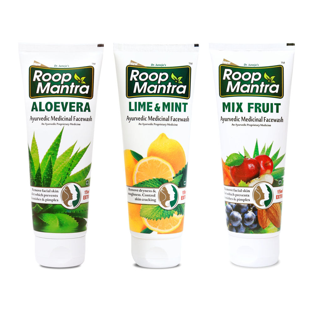 Roop Mantra Face Wash Combo (Aloe Vera 115ml, Lime & Mint 115ml, Mix Fruit 115ml)