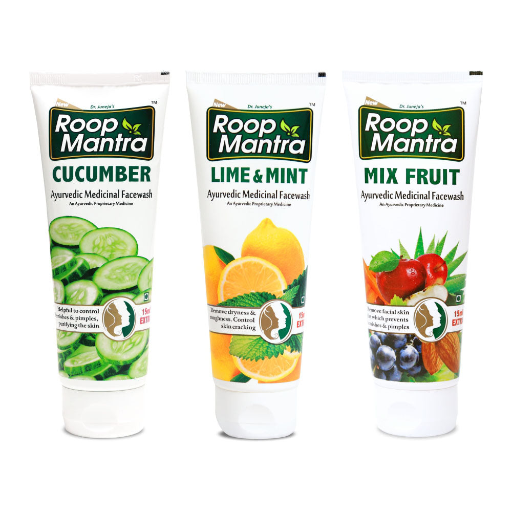 Roop Mantra Face Wash Combo (Cucumber 115ml, Lime & Mint 115ml, Mix Fruit 115ml)