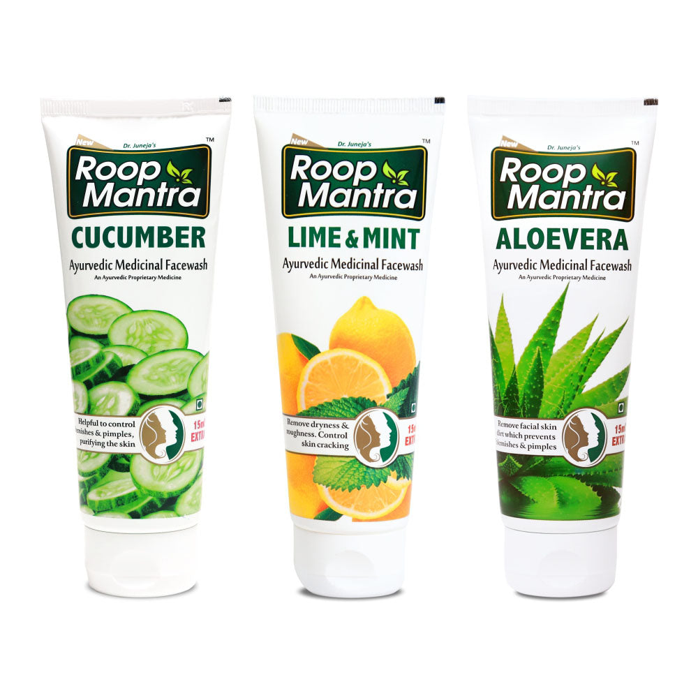 Roop Mantra Face Wash Combo (Cucumber 115ml, Lime & Mint 115ml, AloeVera115ml)