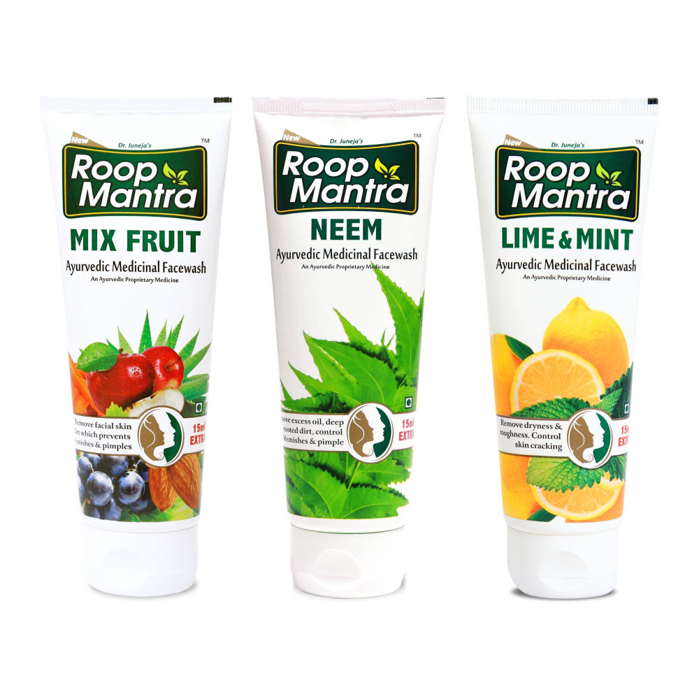 Roop Mantra Face Wash Combo (Mix Fruit 115ml, Neem 115ml, Lime & Mint 115ml)