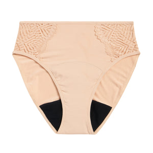 Modibodi Sensual French Cut Bikini Beige Moderate-Heavy Flatlay