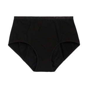 Modibodi Vegan Full Brief Black Heavy-Overnight Flatlay