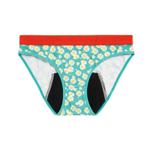 Load image into Gallery viewer, Modibodi RED Hipster Bikini Daisy Chain Moderate-Heavy Flatlay