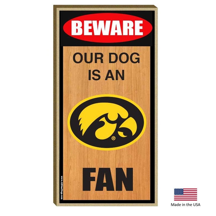 Iowa Hawkeyes Wood Dog Sign - Hug My Pup