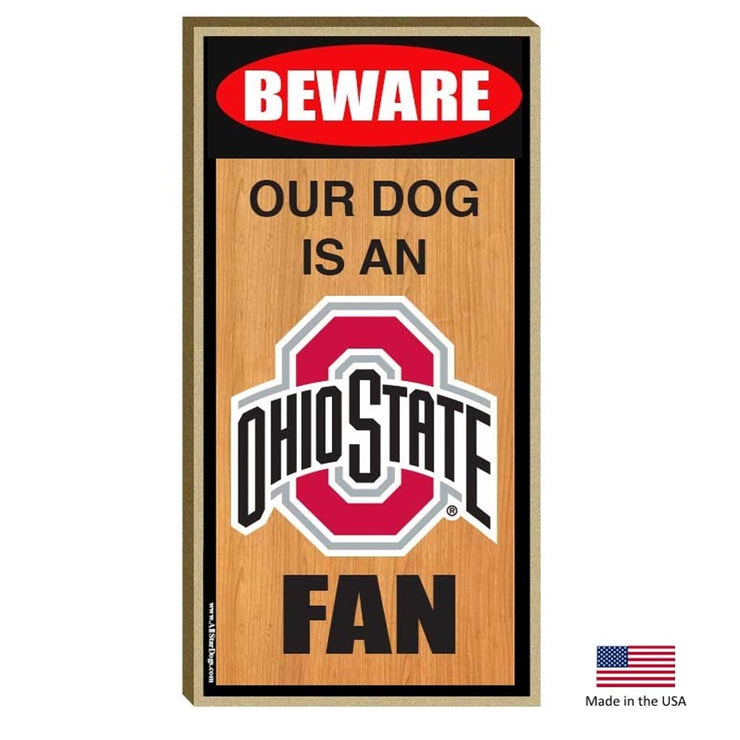 Ohio State Buckeyes Wood Dog Sign - Hug My Pup