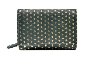 Wrap Purse Green Leather All over Shamrocks
