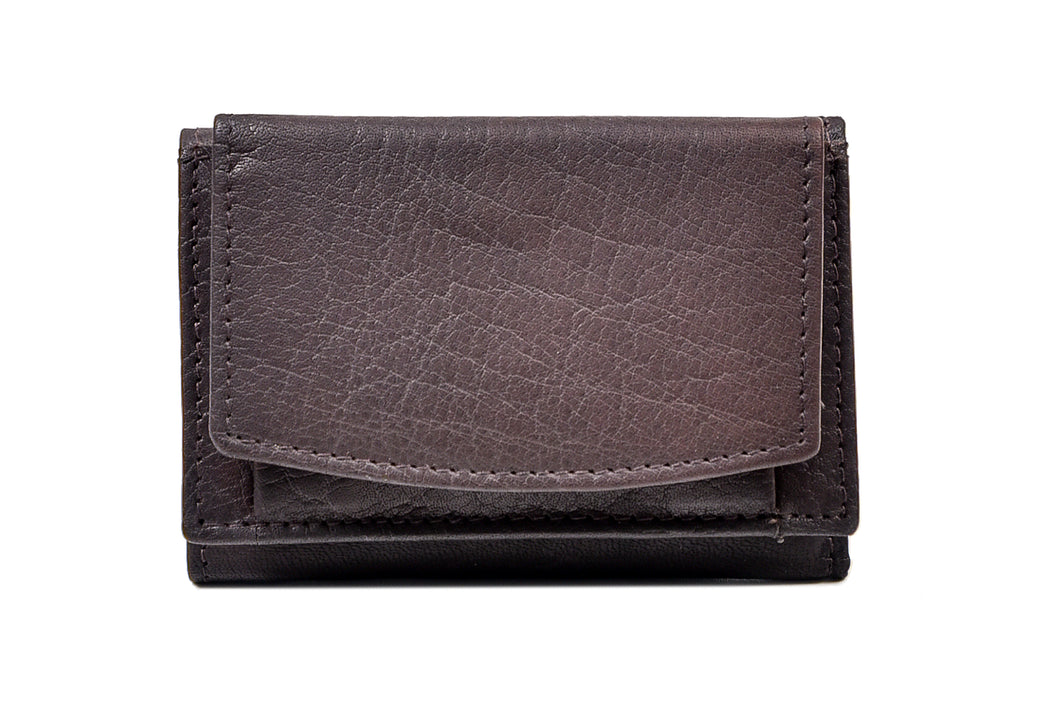 Tri Fold Wallet in Dark Brown Leather
