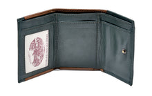 Load image into Gallery viewer, Tri Fold Wallet Tan and Green Leather Shamrock Spray