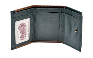 Tri Fold Wallet Tan and Green Leather Shamrock Spray
