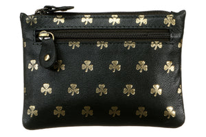 TK139 Three zip Purse All over Shamrocks