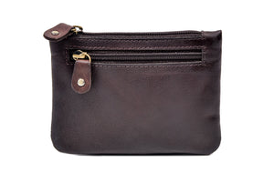 Three Zip Purse Brown Leather