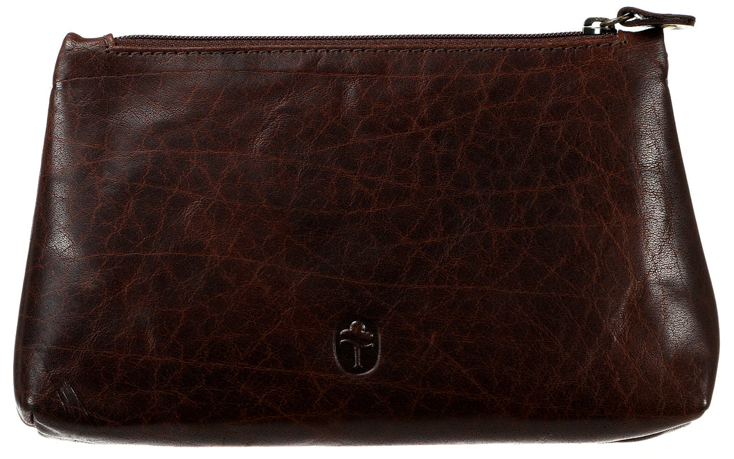 Cosmetic Pouch in Dark Brown Leather