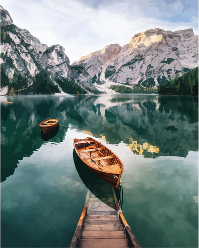 Boat In a Mountain Lake