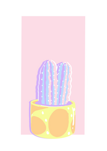 Potted Cactus 1 - Happy Pastels Art Kit