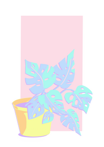 Monstera Plant - Happy Pastels Art Kit