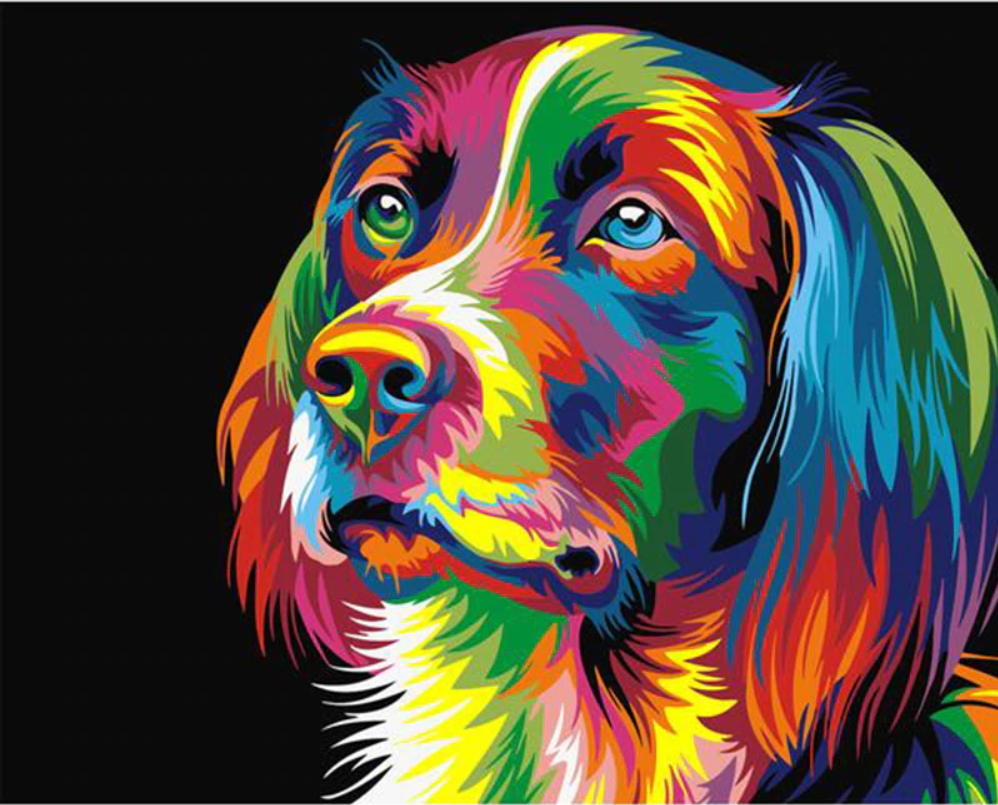 Modern Dog Painting - Drop Of Colour