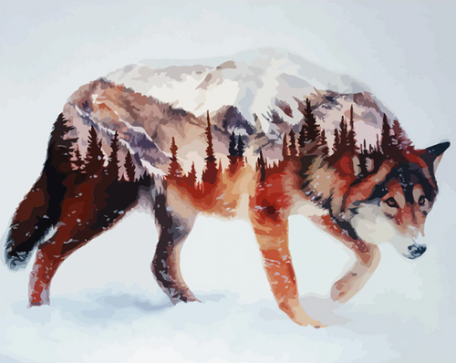 Wolf Painting - Drop Of Colour
