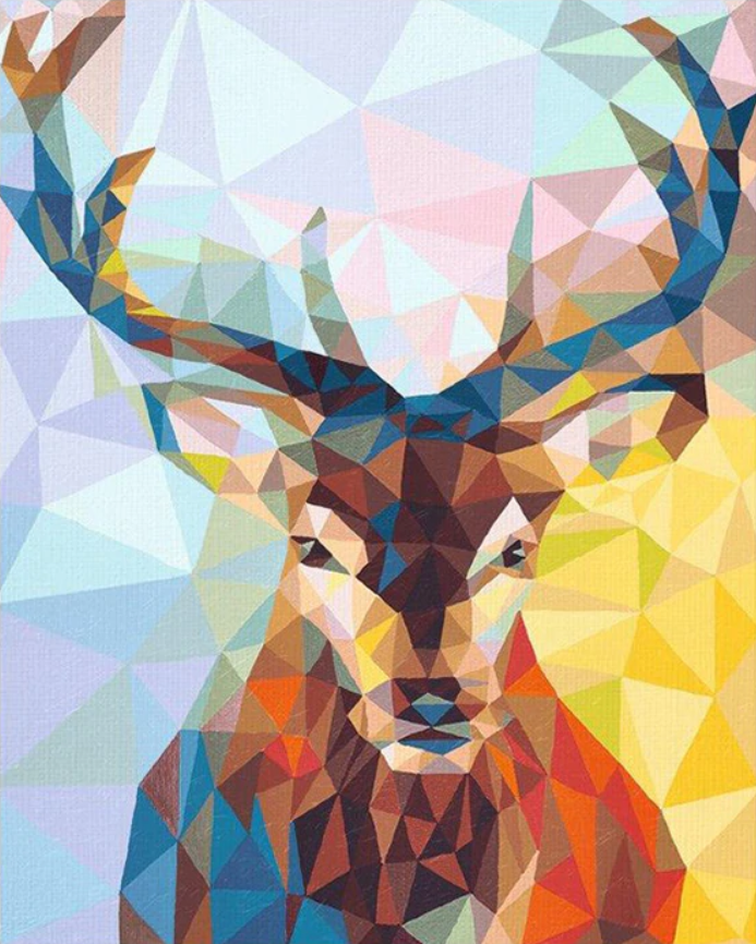 Geometric Stag - Drop Of Colour