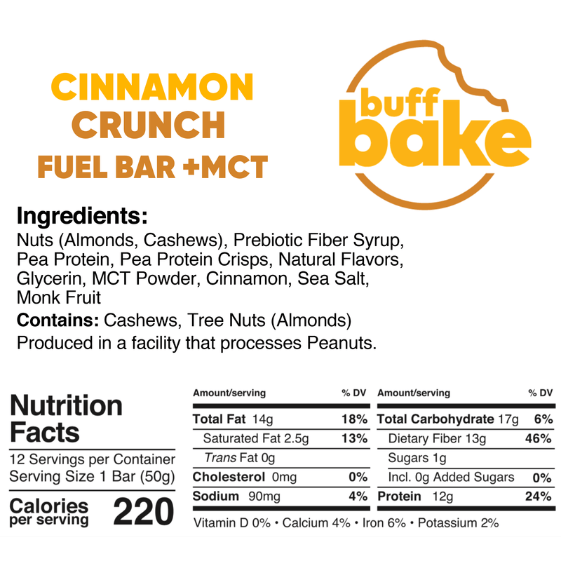 Cinnamon Crunch Fuel Bar + MCT - Best before 09/01/21-Bar-Yo Keto