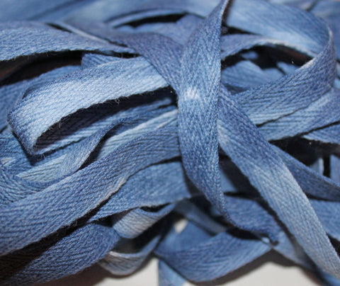 "Denim - Hand-dyed Cotton Twill Tape 3/8"" wide"