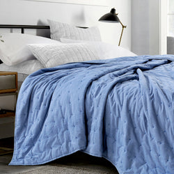 New York Washed Cotton Summer Quilt - Denim