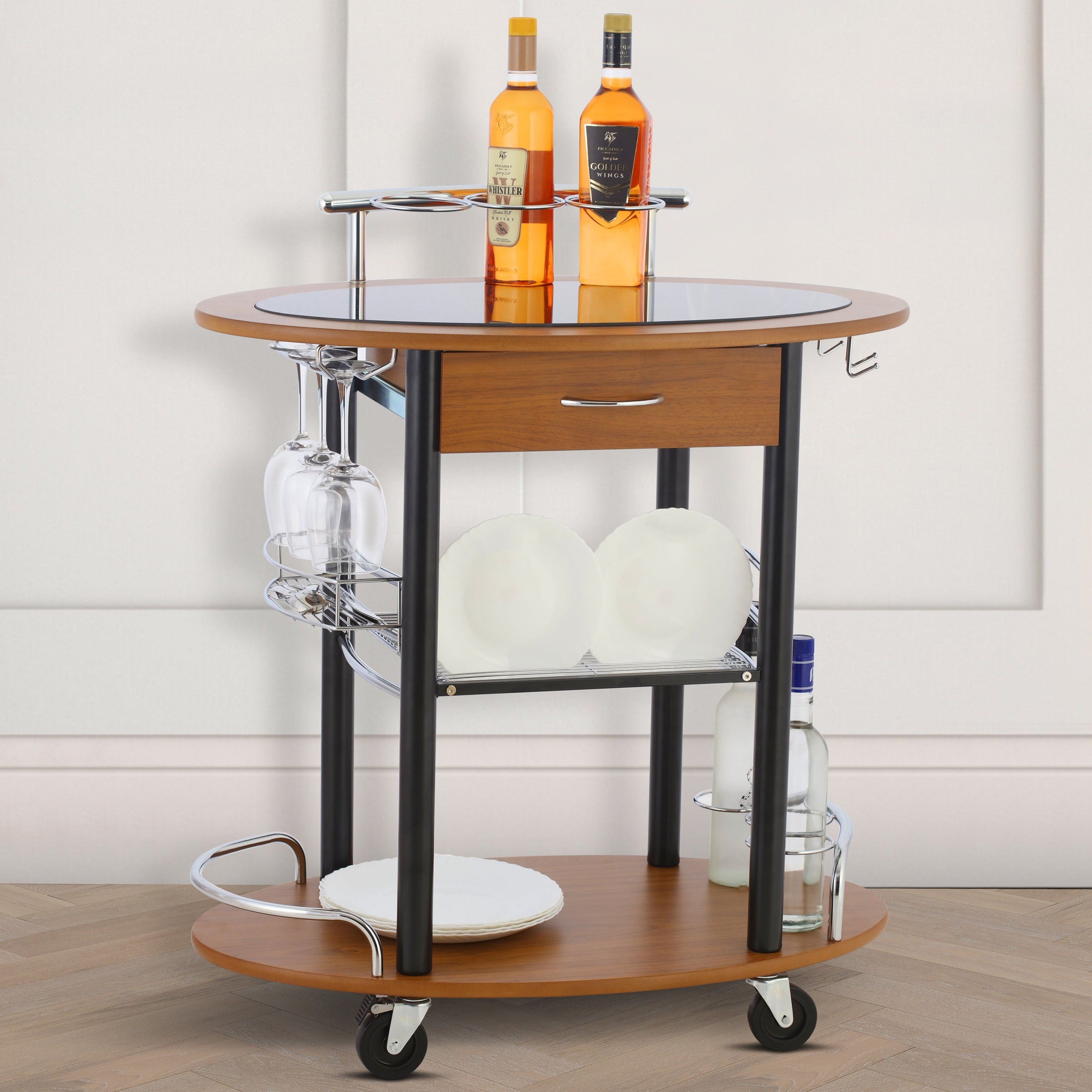Wooden Trolley With Metal Frame - Walnut