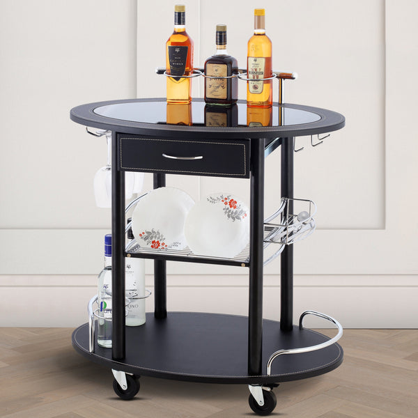 Wooden Leather Trolley With Metal Frame - Black