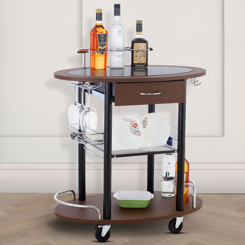 Wooden Leather Trolley With Metal Frame - Brown