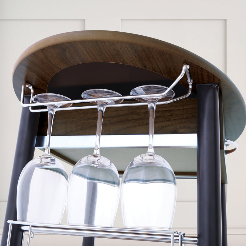 Wooden Trolley With Metal Frame - Oakwood
