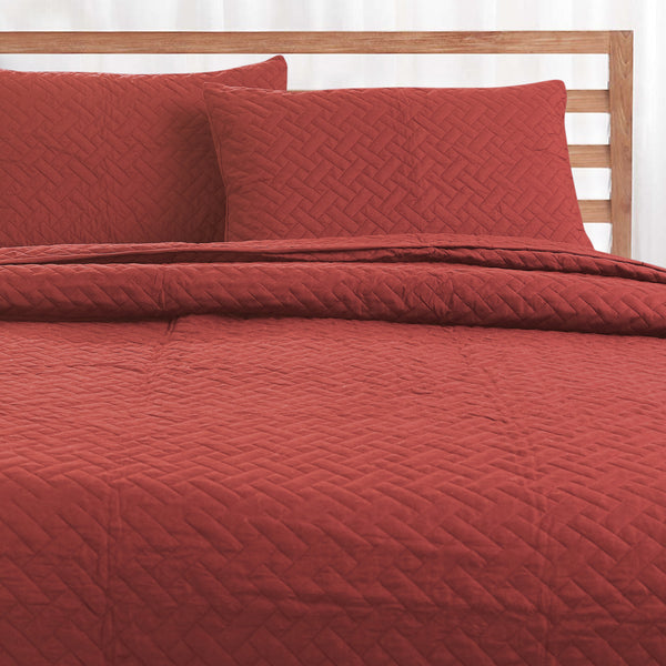 Day and Night Bedcover - Rust