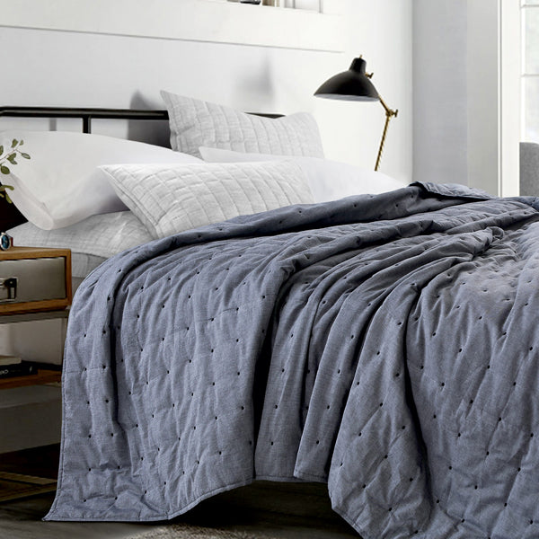 New York Washed Cotton Summer Quilt - Black
